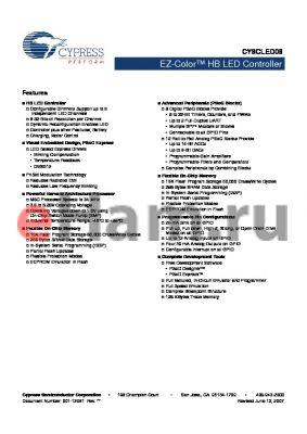 CY8CLED08 datasheet - EZ-Color HB LED Controller