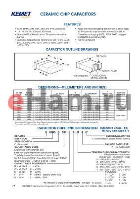 C0402C109G3GAC datasheet - CERAMIC CHIP CAPACITORS