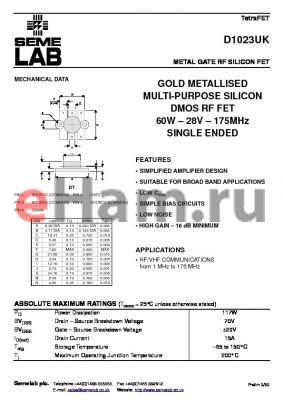 D1023 datasheet - METAL GATE RF SILICON FET