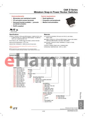 D103J12S2ADQF datasheet - Miniature Snap-in Power Rocker Switches