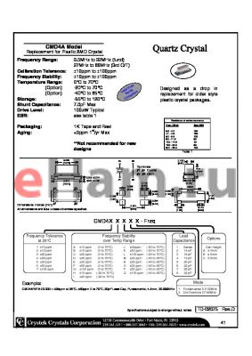 CMD41I21A-20.000 datasheet - Replacement for Plastic SMD Crystal