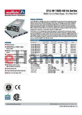 D1U-W-1600-48-HA2C datasheet - AC/DC Front End Power Supply  S1U Power Shelf