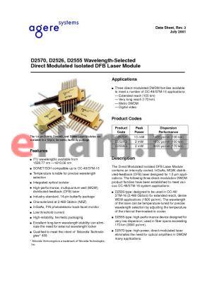 D2526G45 datasheet - D2570, D2526, D2555 Wavelength-Selected Direct Modulated Isolated DFB Laser Module