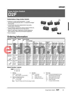 D2F-FL3-A1 datasheet - Snap Action Switch