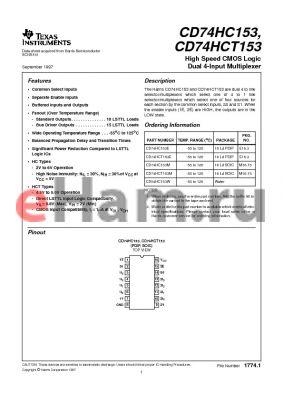 CD74HC153E datasheet - High Speed CMOS Logic Dual 4-Input Multiplexer