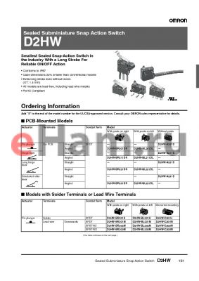 D2HW-BL213M datasheet - Sealed Subminiature Snap Action Switch