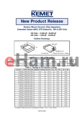 C0603C2231RAC datasheet - Surface Mount Ceramic Chip Capacitors Extended Values 0603, X7R Dielectric, 100 & 200 Volts