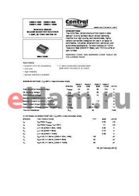 CMSH1-100M datasheet - SURFACE MOUNT SILICON SCHOTTKY RECTIFIER 1 AMP, 20 THRU 100 VOLTS