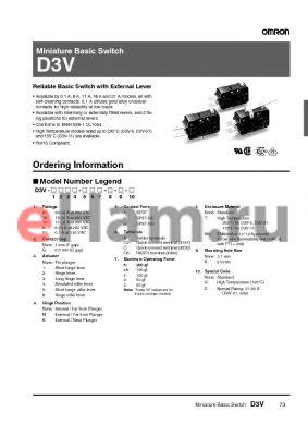 D3V-21G1MK-2C25-W2KE datasheet - Miniature Basic Switch