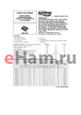 CMZ5928B datasheet - SURFACE MOUNT SILICON ZENER DIODE 1.5 WATT, 3.3 THRU 200 VOLTS a 5% TOLERANCE