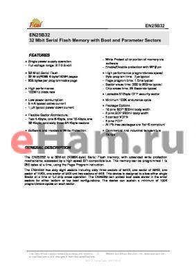 EN25B32T-100VI datasheet - 32 Mbit Serial Flash Memory with Boot and Parameter Sectors