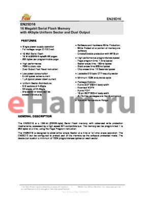 EN25D16-100HI datasheet - 16 Megabit Serial Flash Memory