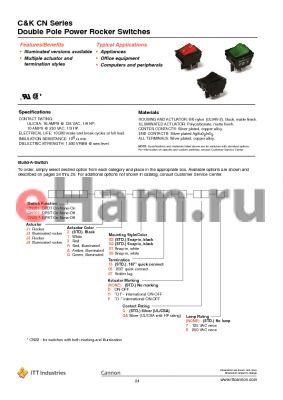 CN202J11S205Q datasheet - Double Pole Power Rocker Switches