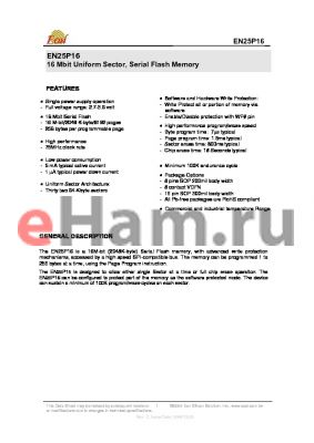 EN25P16-50FCP datasheet - 16 Mbit Uniform Sector, Serial Flash Memory