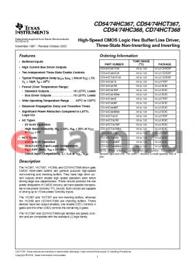 CD74HCT367EE4 datasheet - High-Speed CMOS Logic Hex Buffer/Line Driver, Three-State Non-Inverting and Inverting