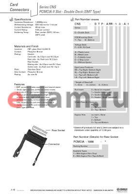 CNS-DBP-CLR-81-A-1 datasheet - PCMCIA II Slot - Double Deck (SMT Type)