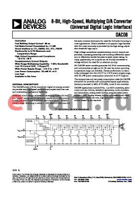 DAC08CQ datasheet - 8-Bit, High-Speed, Multiplying D/A Converter (Universal Digital Logic Interface)