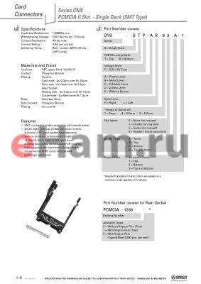 CNS-SBP-CL40-A-1 datasheet - PCMCIA II Slot - Single Deck (SMT Type)