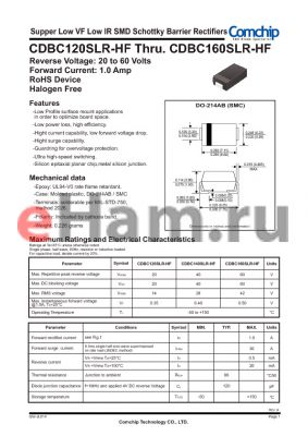 CDBC160SLR-HF datasheet - Supper Low VF Low IR SMD Schottky Barrier Rectifiers