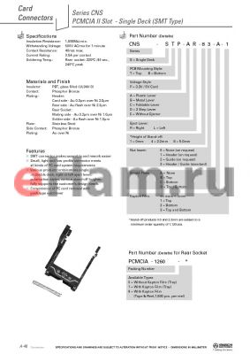 CNS-STP-AR81-A datasheet - PCMCIA II Slot - Single Deck (SMT Type)