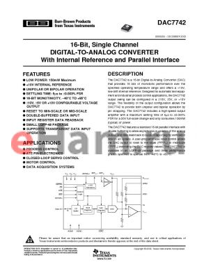 DAC7742YC/250 datasheet - 16-Bit, Single Channel DIGITAL-TO-ANALOG CONVERTER With Internal Reference and Parallel Interface