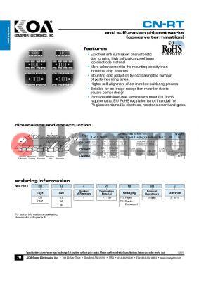 CNZ2B4RTTE103J datasheet - anti sulfuration chip networks (concave termination)