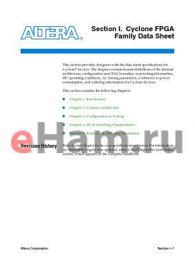 EP1C20F400C6ES datasheet - Cyclone FPGA Family Data Sheet