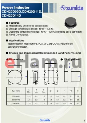 CDH20D14DNP-R44NC datasheet - Power Inductor
