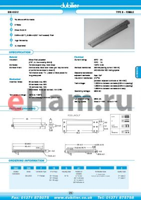 DBCDINF64BA1S2 datasheet - DIN 41612 TYPE B - FEMALE