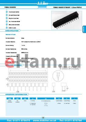 DBCIDCB3S40AG1 datasheet - FEMALE HEADERS FEMALE HEADER STRAIGHT - 5.2mm PROFILE
