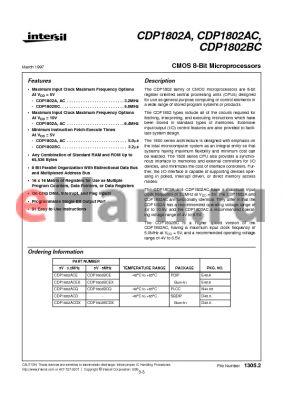 CDP1802BCE datasheet - CMOS 8-Bit Microprocessors