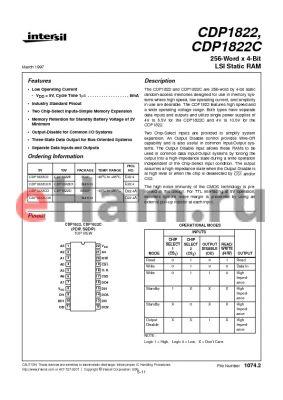CDP1822CD datasheet - 256-Word x 4-Bit LSI Static RAM