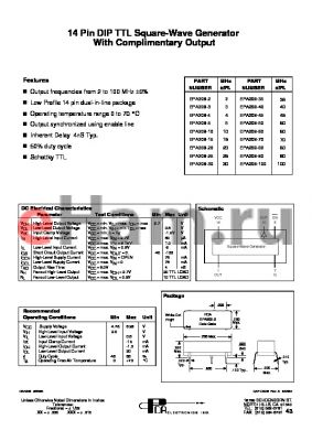 EPA209-40 datasheet - 14 Pin DIP TTL Square-Wave Generator With Complimentary Output