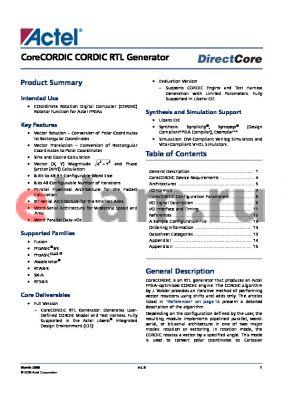 CORECORDIC-AR datasheet - CoreCORDIC CORDIC RTL Generator