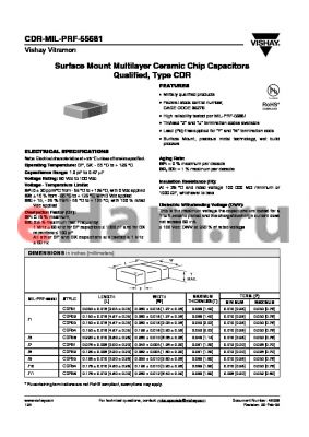 CDR31BP102BCYM datasheet - Surface Mount Multilayer Ceramic Chip Capacitors Qualified, Type CDR