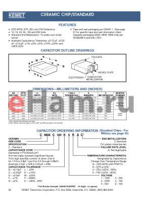 C1812C104Z2GAC datasheet - CERAMIC CHIP/STANDARD