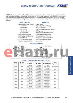 C1825C110GCRAC datasheet - CERAMIC CHIP / HIGH VOLTAGE