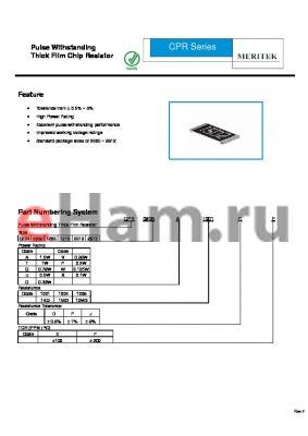 CPR1210U1005DE datasheet - Pulse Withstanding Thick Film Chip Resistor