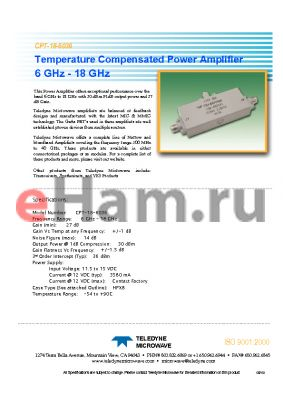 CPT-18-6036 datasheet - Temperature Compensated Power Amplifier 6 GHz - 18 GHz