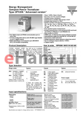 CPT-DINAV53HA1AX datasheet - Energy Management Compact Power Transducer