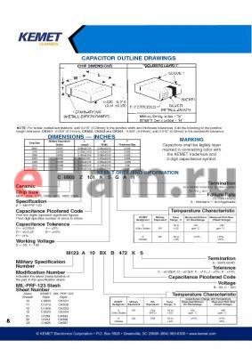 C2225Z109K5XAH datasheet - CAPACITOR OUTLINE DRAWINGS