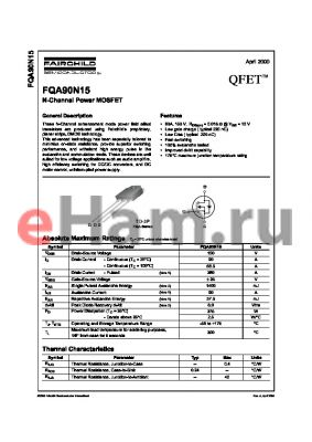 FQA90N15 datasheet - N-Channel Power MOSFET