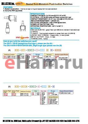 ES-21-CV1-6-FPCQ-A5S datasheet - Sealed Sub-Miniature Push button Switches