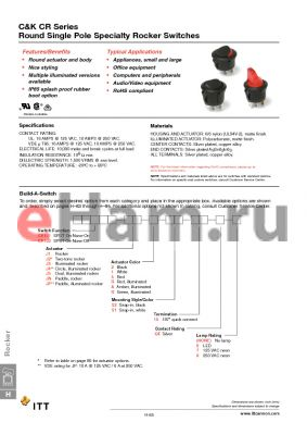 CR101J3RS215QF datasheet - Round Single Pole Specialty Rocker Switches
