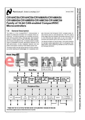 CR16MCS9VJI9 datasheet - Family of 16-bit CAN-enabled CompactRISC Microcontrollers