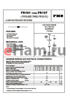 FR106 datasheet - 1.0 AMP FAST RECOVERY RECTIFIERS