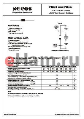 FR157 datasheet - 1.5AMP Fast Recovery Rectifiers