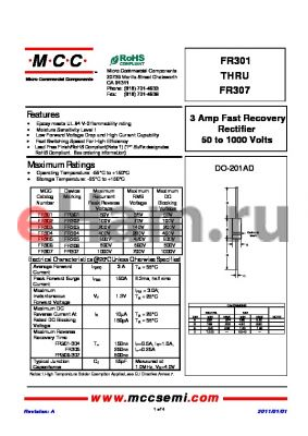 FR305 datasheet - 3 Amp Fast Recovery Rectifier 50 to 1000 Volts