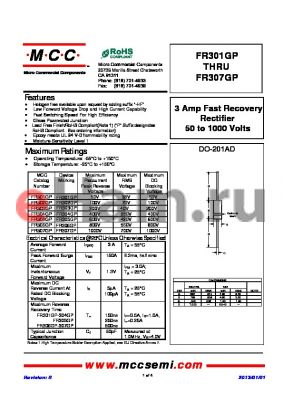 FR305GP datasheet - 3 Amp Fast Recovery Rectifier 50 to 1000 Volts