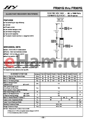 FR307G datasheet - GLASS FAST RECOVERY RECTIFIERS